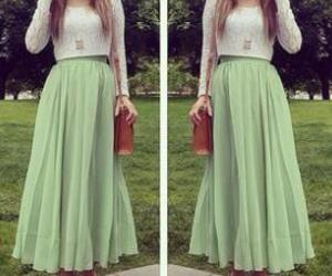 fashion, lace top, and maxi skirt image