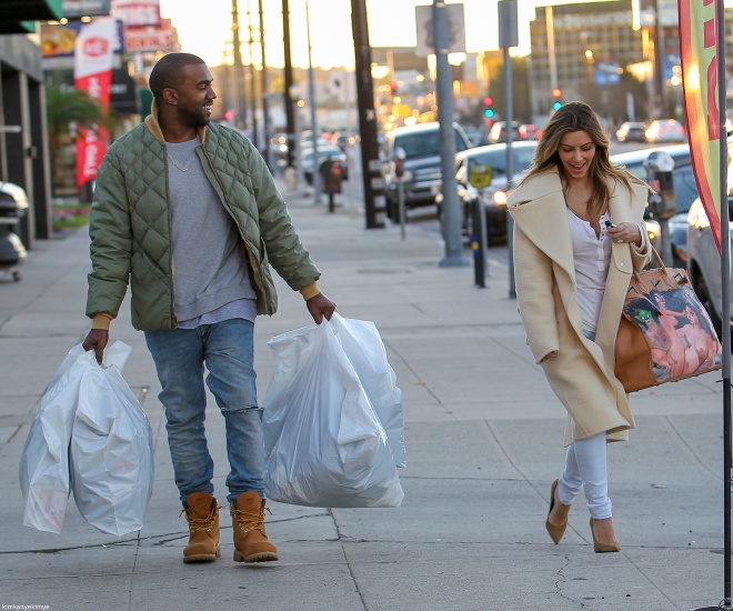 kim kardashian, kanye west, and couple image