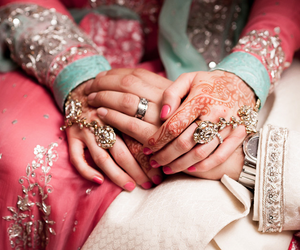 asia, bride, and henna image