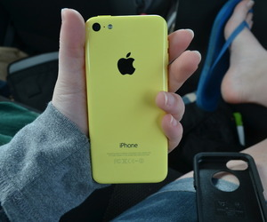 iphone, yellow, and phone image