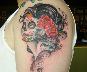 day of the dead, roses, and painted image