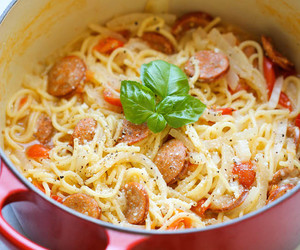 food, pasta, and sausage image