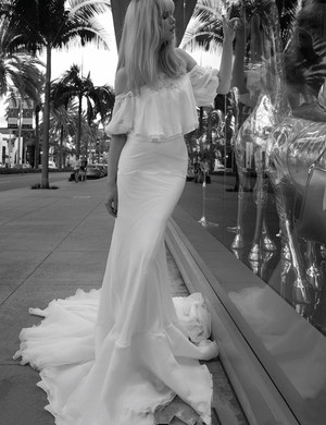 long dress, off-shoulder, and white image