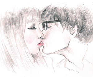 love, kiss, and drawing image
