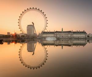london, london eye, and reflection image