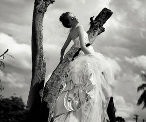 dress and black and white image