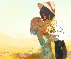 cute couple, deviantart, and flowers image