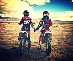 love, motocross, and couple image