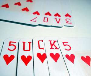 sucks, love, and cards image