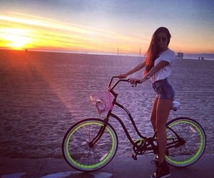 girl, bike, and beach image