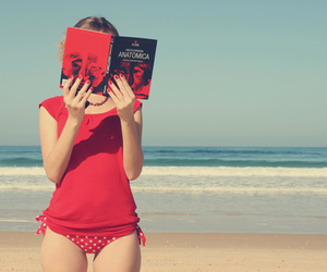 red, book, and girl image