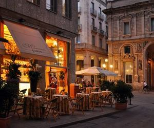 city, light, and cafe image