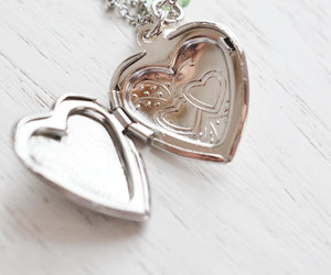 birthday gift, heart locket, and silver necklace image