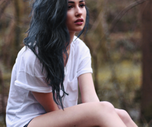 blue, girls, and woods image
