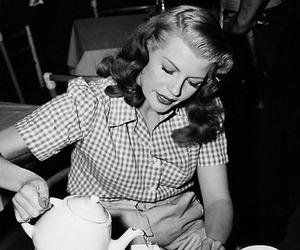rita hayworth, vintage, and tea image