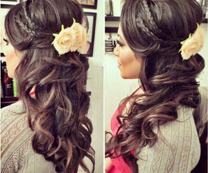 flower, hair, and sweet image