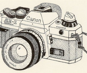 canon, camera, and black and white image