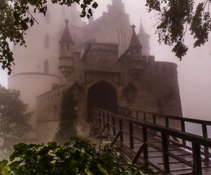 castle, fog, and bridge image
