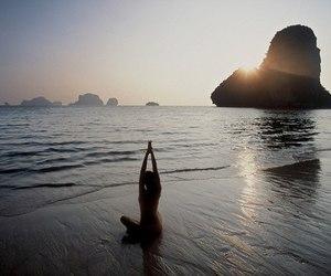 beach, yoga, and summer image