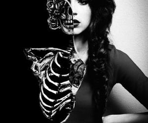 girl, skeleton, and galaxy image