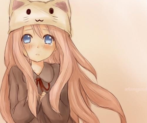 anime girl, pink, and cat image
