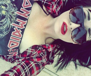 black hair, red lips, and girl image