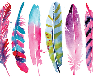 feathers and watercolor image