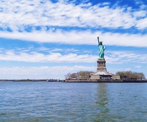 landscape, liberty statue, and new york image