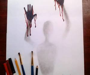 art, blood, and drawing image