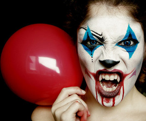 clown, girl, and Halloween image