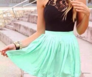 black top, lovely outfit, and black and turquoise image