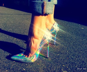 heels, holographic, and mirror image