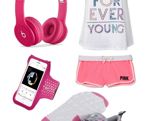 outfit, pink, and run image