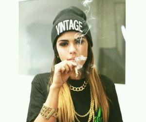 girl, smoke, and vintage image