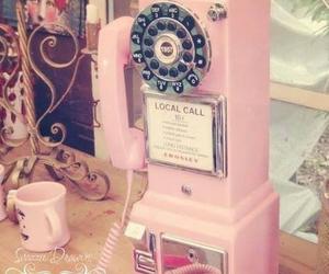 vintage, pink, and phone image