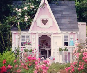 house, pink, and garden image