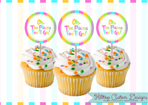 Brilliant Printable Dr Seuss Inspired Oh The Places Youll Go 2 Cupcake Personalised Birthday Cards Epsylily Jamesorg