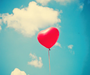 balloon, blue sky, and heart image