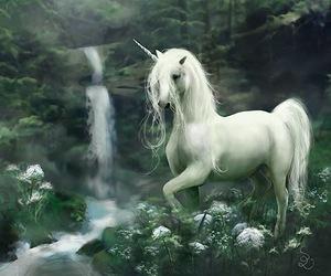 unicorn, fantasy, and waterfall image