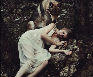 wolf, girl, and black and white image
