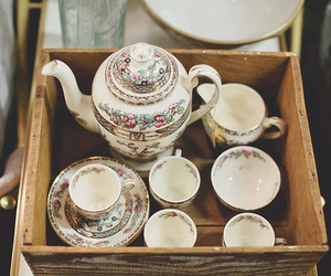 vintage, tea, and cup image