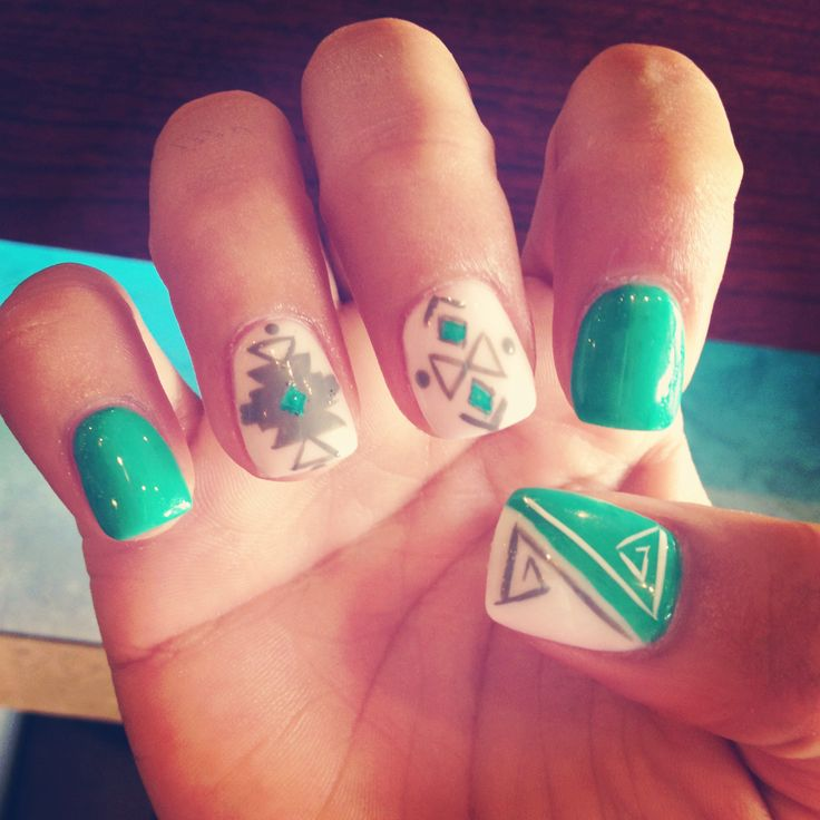 Aztec Nail Art Nails Pinterest On We Heart It