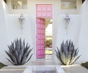 pink, door, and white image