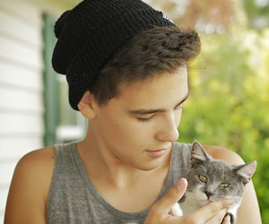 boy, cat, and Hot image