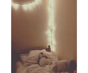 bedroom, fairylights, and home image