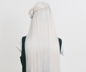 hair, white, and long image