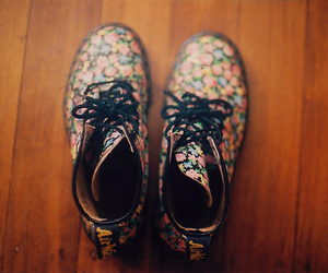 shoes, boots, and floral image