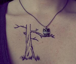 owl, tattoo, and tree image