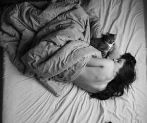 black and white, cat, and cuddle image