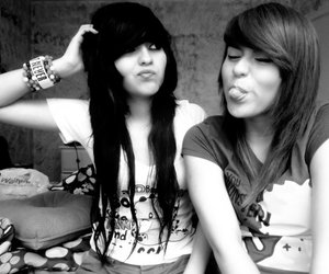 best friends, black and white, and girly image